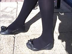 Black pantyhose and flats shoeplay