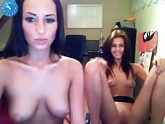 Two girls playing on webcam
